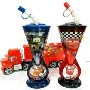 Disney Store Snow Globe Tumbler Cup Lightning McQueen Cars Red Glitter NEW